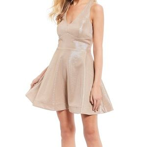 NWT Teeze Me Macy's Gold Shimmer Fit & Flare Dress